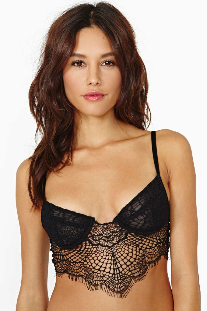 SKIVVIES Bat Your Lashes Lace Bralette in  Clothes Lingerie at Nasty Gal