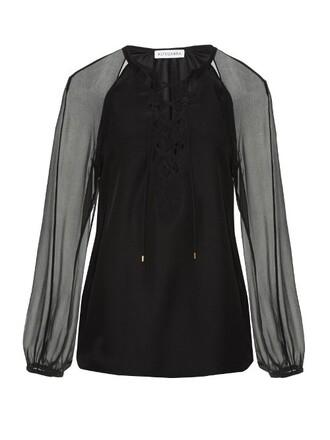 blouse cut-out silk black top