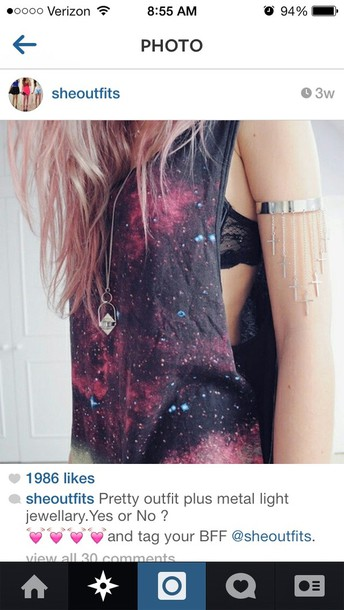 tank top galaxy print tank top shirt cute black tumblr shirt vans
