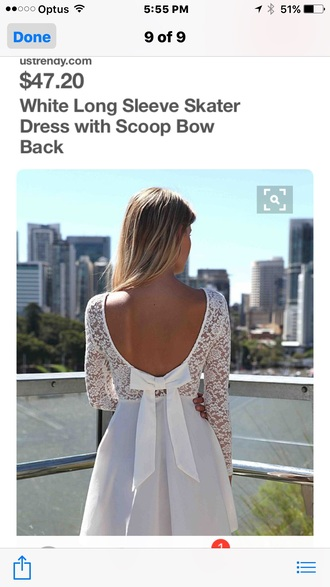 dress bow back white dress little white dress cute dress