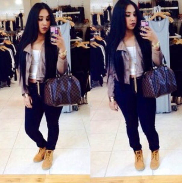 jacket bag blouse grey cute long hair outfit dope