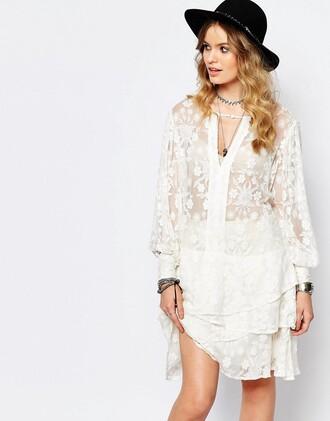 dress lace dress white dress ruffle dress ruffle long sleeve dress beach