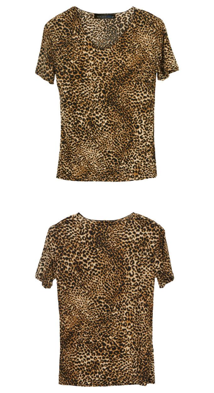Loose Collar Leopard Print T-shirt for Men 2002 - WearingSales.com