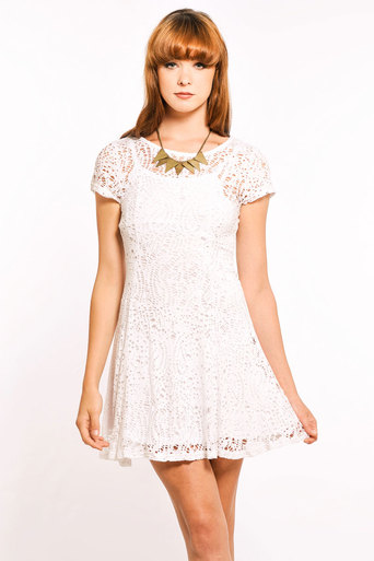 Ladies Bibiana Jersey Lace Dress | Pop Couture