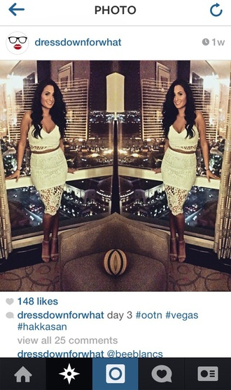 skirt white white lace crochet white crochet crochet crop top crochet skirt fashion chic fabulous sexy fashionista two piece dress set vegas vegas dress fab skyline sophisticated dress sexy dress instagram