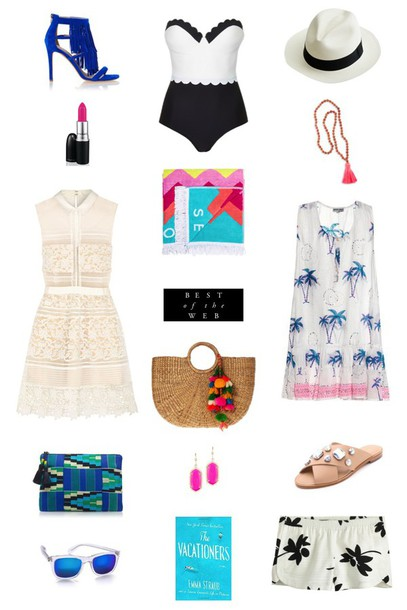 sequins and stripes blogger dress shorts one piece swimsuit palm tree print lace dress travel blue shoes shoes make-up bag sunglasses jewels hat
