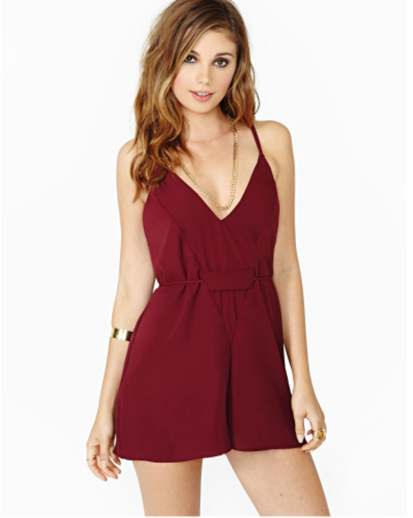 shorts romper jumpsuit vintage jumpsuit cute romper pinterest tumblr highquality instagram polyvore piece pants crossed back open back romper red wine summer summer outfits summer romper v neck backless dress low v neck 2015new strappy strapless burgundy backless romper beautiful halo style fashion trendy casual cool girly