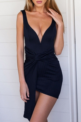 dress zaful black dress little black dress mini black dress black tie dress tie dress v neck dress black v neck dress