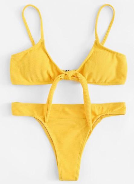 swimwear girly yellow two-piece bikini bikini top bikini bottoms matching set
