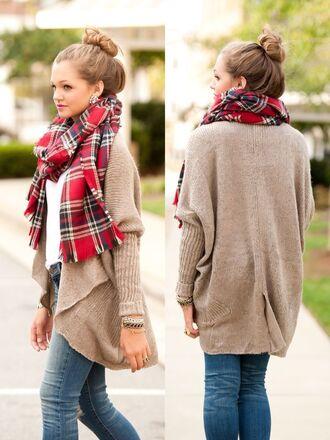 sweater where do u get this scarf plaid plaidscarf adorablescarf