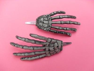 2 Skeleton Hand Barrette Hair Clips Goth Punk Dead Psychobilly Horror Morbid | eBay