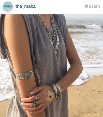 jewels gold bracelets boho chic boho jewelry hippie hippie chic hippie jewelry silver jewelry silver sterling silver jewelry big silver jewels temporary tattoo tattoo fake tattoos top tank top grey top grey rings and tings boho ring silver ring silver bracelet turquoise jewelry turquoise arm bracelet summer outfits dress arm cuff california girl beauty grey tank top jewelry