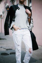 jeans,tumblr,denim,white jeans,ripped jeans,bag,black bag,jacket,black jacket,black leather jacket,leather jacket,sweater,grey sweater,ruffle,ruffled top