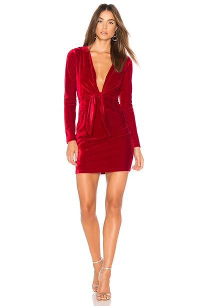 Minkpink dress velvet dress velvet red