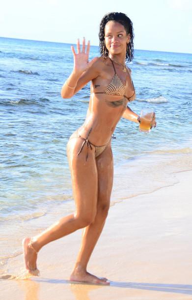 swimwear bikini gold rihanna summer