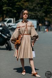 dress,mules,midi dress,leather,sunglasses,bag,belt