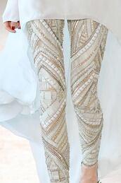 pants,sequins leggings,leggings,white cream,sequins
