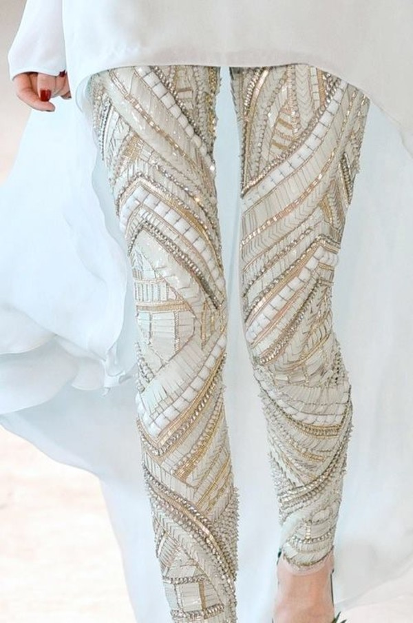 pants sequins leggings leggings white cream sequins