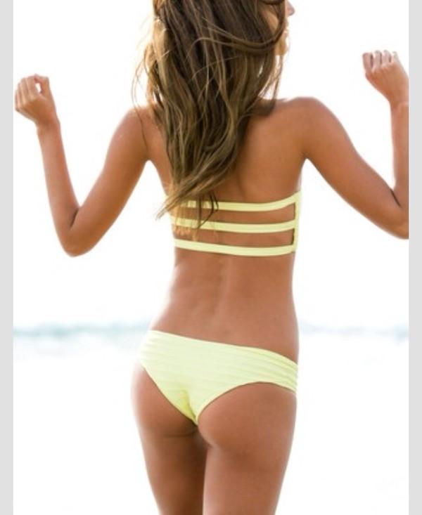 swimwear yellow bikini summer yellow swimwear style bikini top