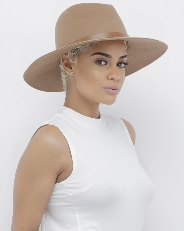DUPREE Wool Fedora Hat in Tan at FLYJANE