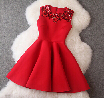Round neck sleeveless vest dress