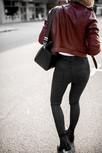 Jacket tumblr red jacket leather jacket jeans black jeans boots black boots ankle boots ...