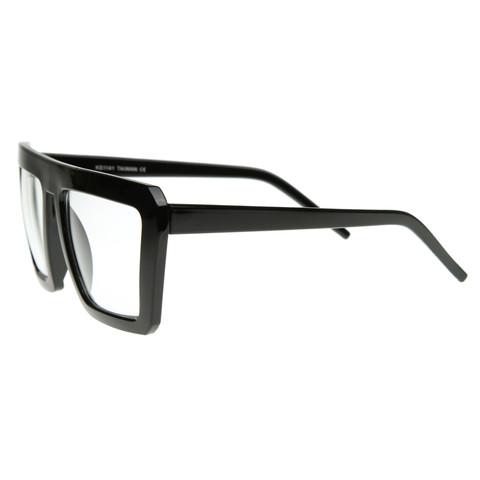 Retro Flat Top Block Aviator Clear Lens Glasses 8065                             zeroUV
