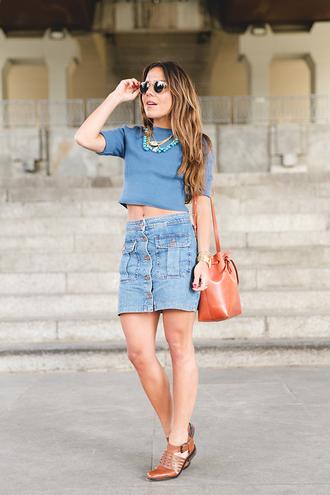 skirt blue t-shirt statement necklace denim skirt sunglasses blogger brown shoes
