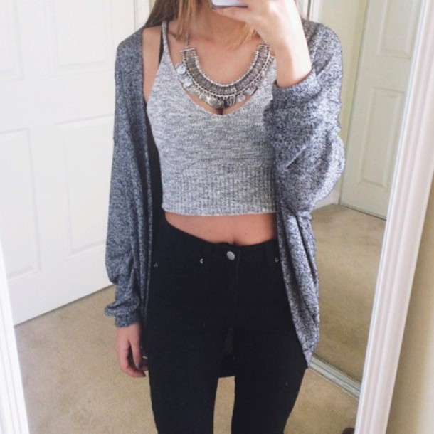 tank top top necklace jeans black grey shirt t-shirt grey t-shirt pants blouse cardigan crop tops jacket