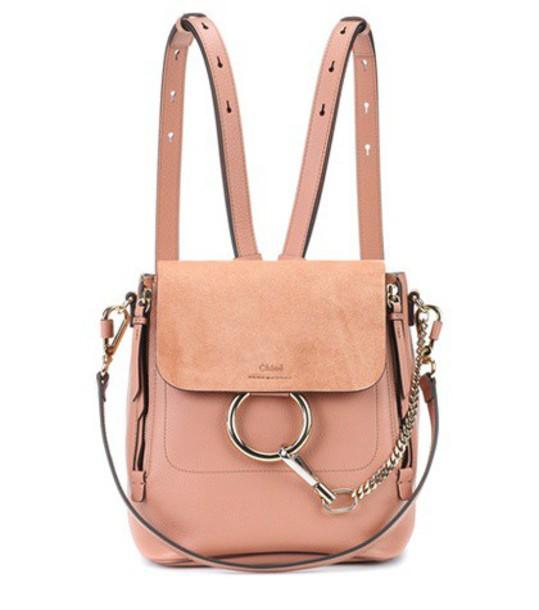 Chloe backpack suede backpack leather suede pink bag