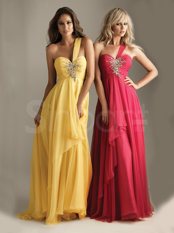 dress empire waist and sleeveless beading onthe prom dress daffodil