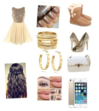 prom dress glitter dress nail polish hairstyles purse make-up bracelets earrings ugg boots heels