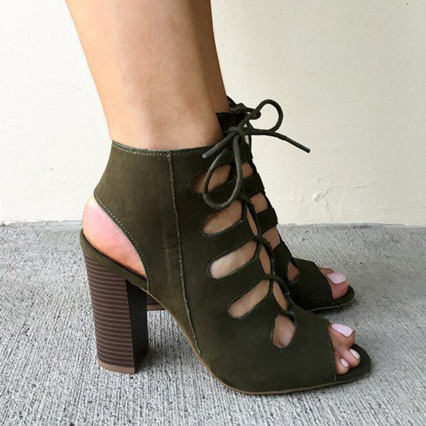 Shoes: olive green, suede, faux, stacked heel, chunky heel, chunky ...