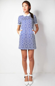 dress scarletroom blue dress printed collar