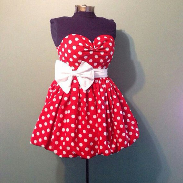Dress: red & white polka dot dress, minnie mouse related - Wheretoget
