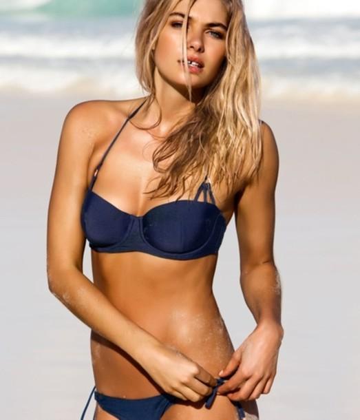 swimwear blue navy beach bikini