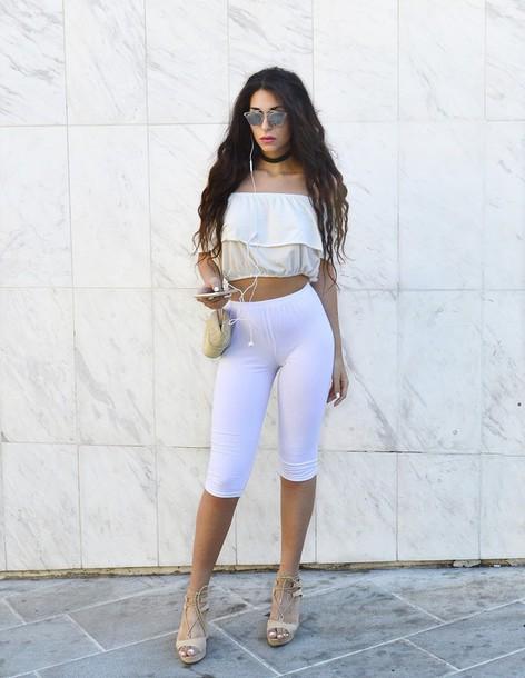 m&m fashion bites blogger top leggings shoes earphones sunglasses bag