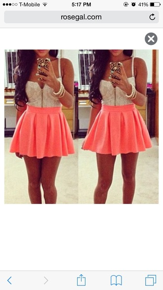 dress coral dress lace top cute dress bustier top skater skirt
