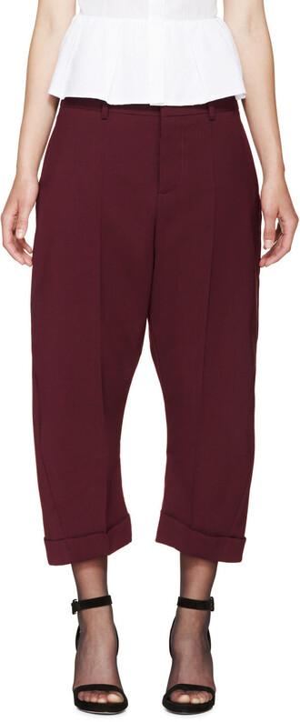 cropped kawaii burgundy pants