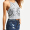 Backless grey sun & moon print top