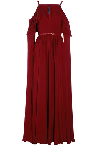 gown chiffon silk burgundy dress