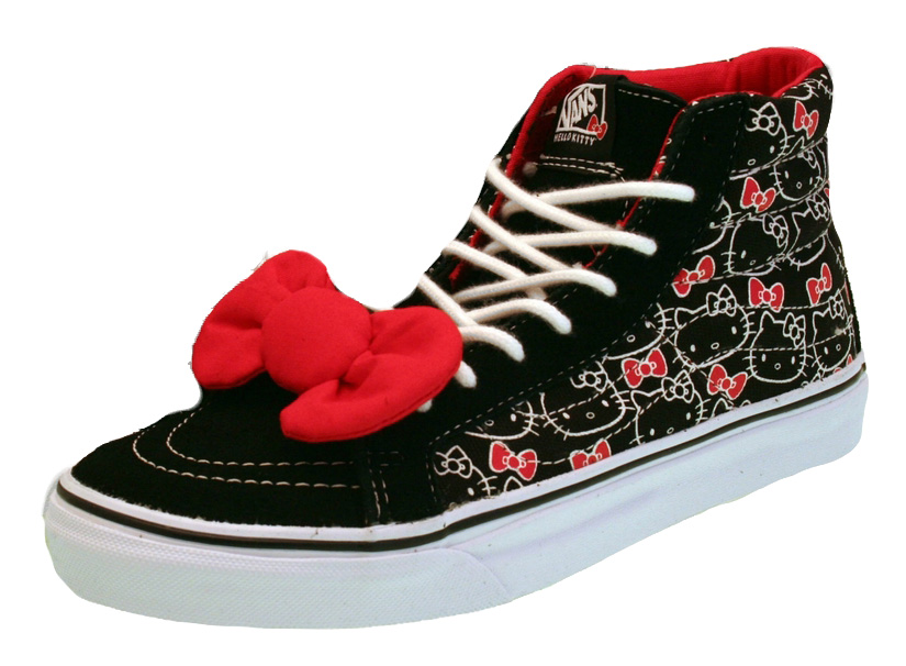 Ladies Vans Hello Kitty Sk8-Hi Top Trainers Black-0