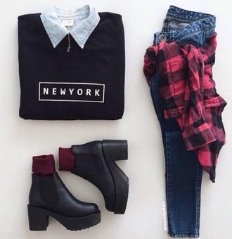 dress black high waisted pants black sweater shirt style fashion jeans blouse shoes