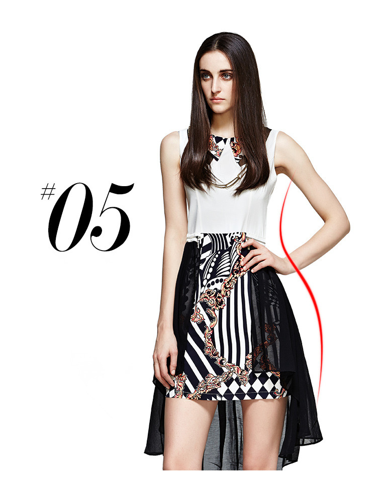 OTHERMIX Fashion 2014 Detachable Chiffon Skirt Turn-down Collar Printed Sleeveless Dress - Cobbprom.com
