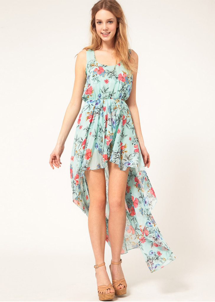 Bohemia floral sleeveless chiffon asymmetrical dress blue