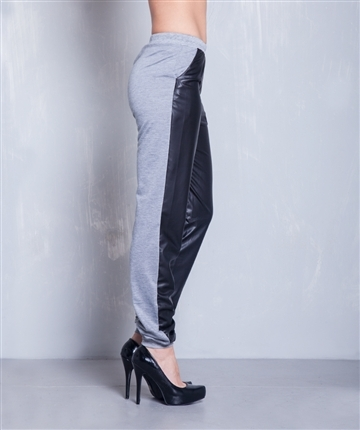 Lethalbeauty ? gray leather contrast jogger pants