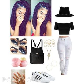 skirt adidas bag white black twists hat
