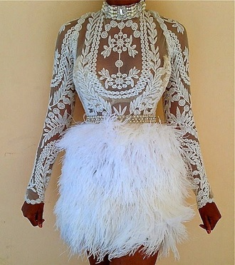 dress lace dress white feathers embroidered dress mesh