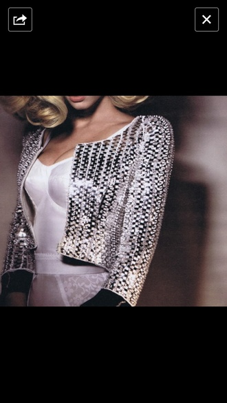 jacket sequin jacket silver