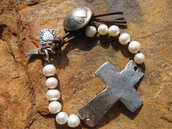jewels,pearl and leather,cross bracelet,cross and pearl bracelet
